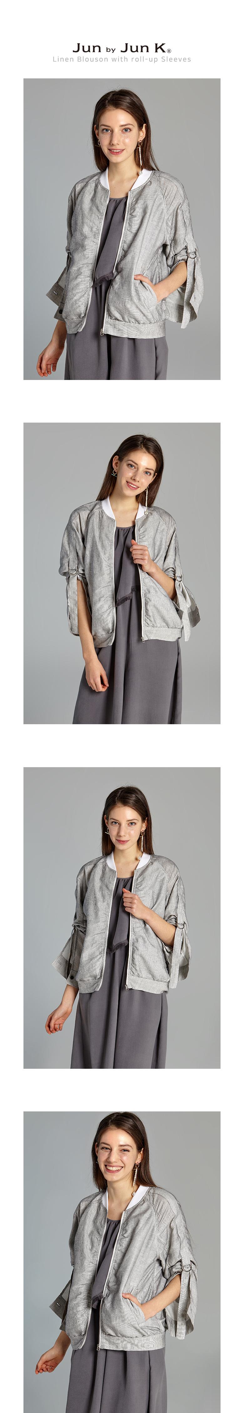 준바이준케이(JUN BY JUN K) Linen Blouson with roll-up Sleeves(Ivory)