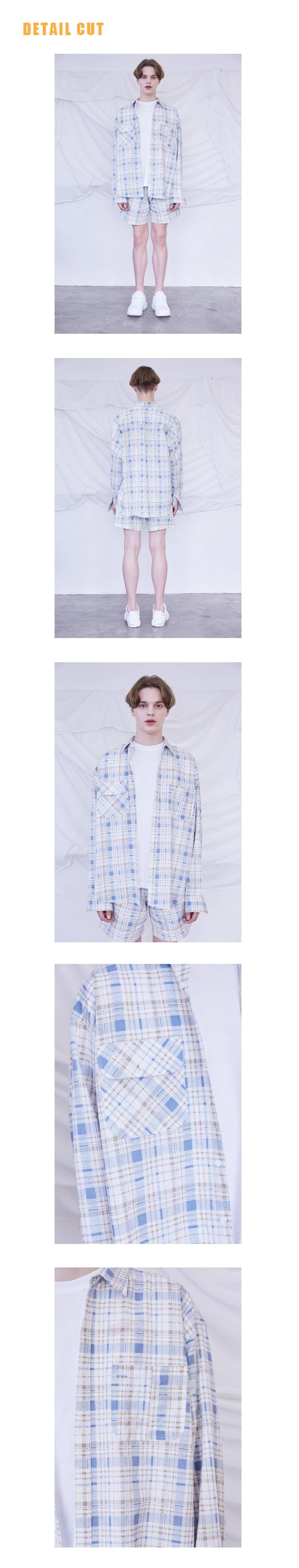 미드나잇 무브(MIDNIGHT MOVE) [unisex] 체크 셔츠 (blue)