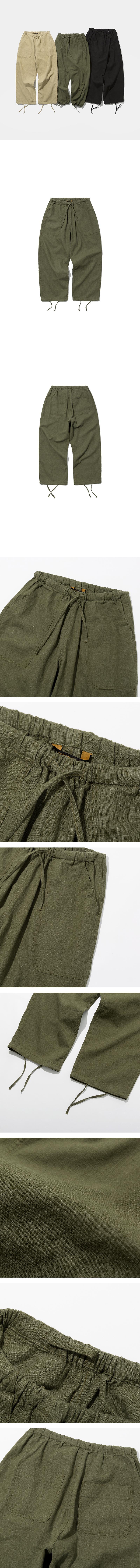 유니폼브릿지(UNIFORM BRIDGE) 19ss linen balloon pants khaki