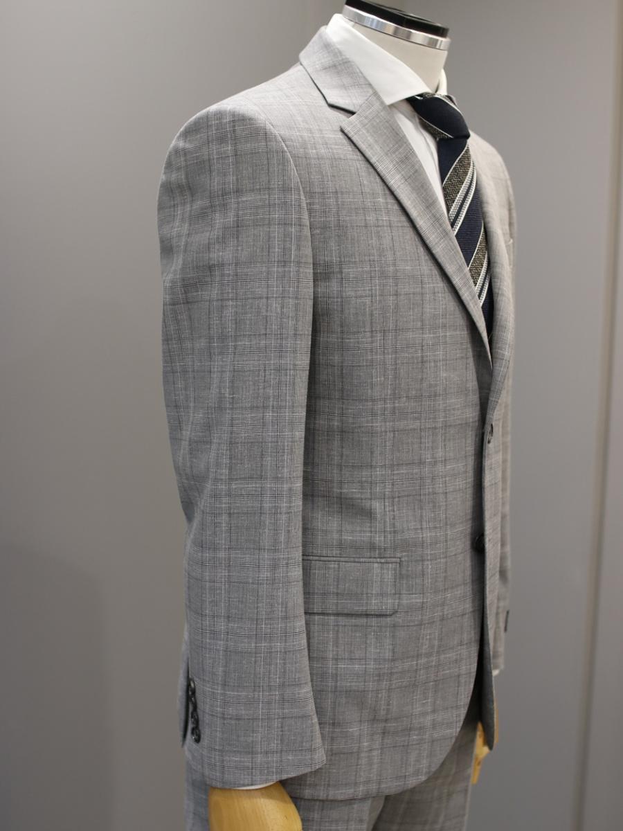 본(BON) 그레이 글렌 체크 패턴 싱글 투버튼 데일리수트