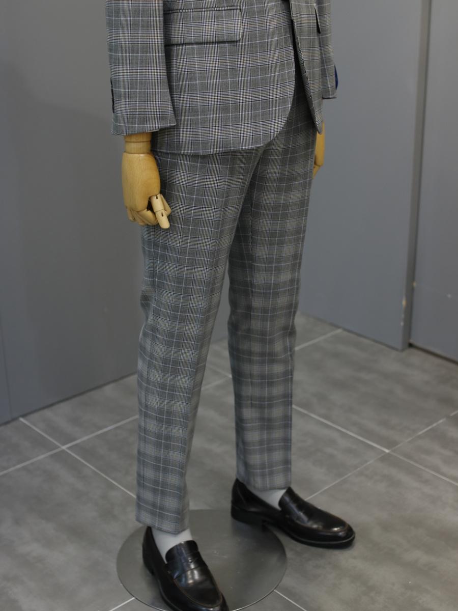 본(BON) 이태리 말라네 수입사 멀티 블루 데코 그레이 글랜체크 캐주얼 수트