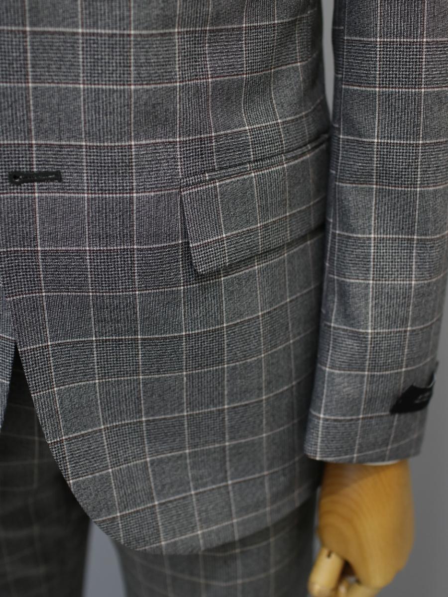 본(BON) 그레이 체크 패턴 스트레치 싱글 투버튼 캐주얼 수트