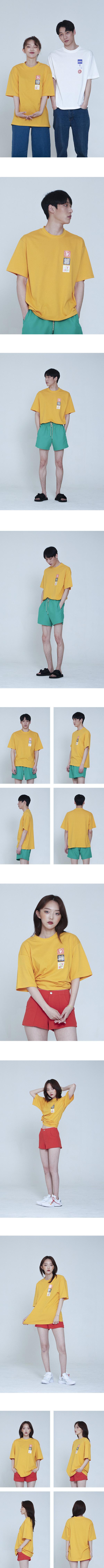키먼(KEYMUN) 3 타일 로고 티셔츠 #옐로우