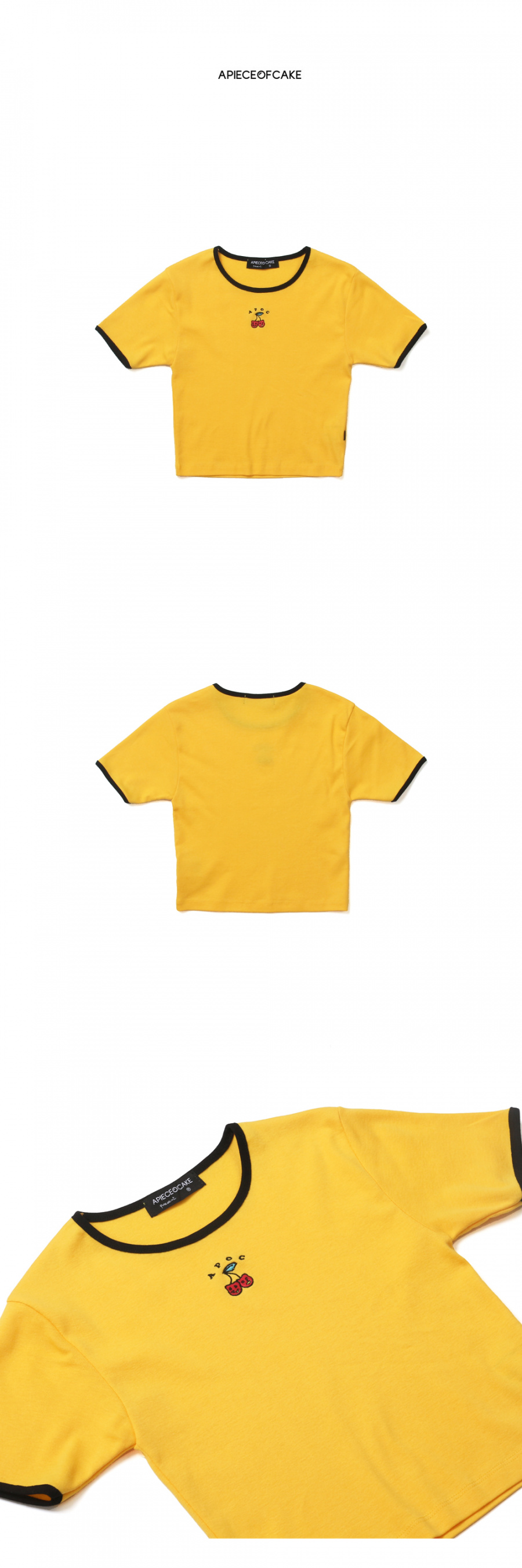 어피스오브케이크(APOC) Cherry Bear Crop Top_Yellow