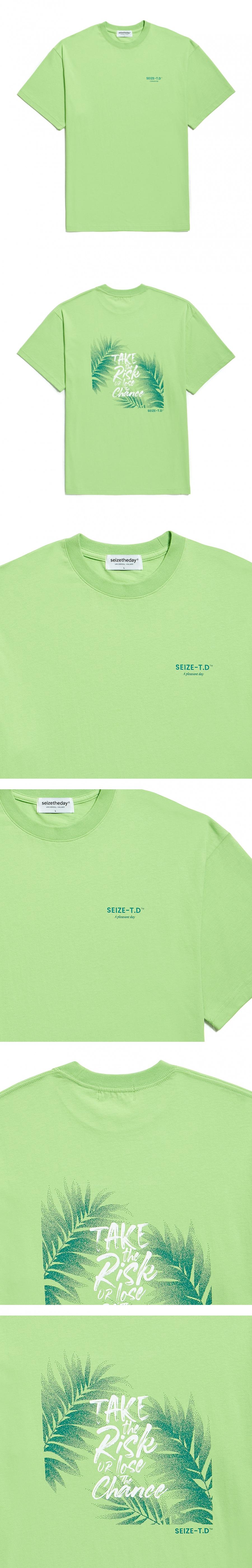 시즈더데이(SEIZETHEDAY) Printed leaves T-SHIRT Lime Green