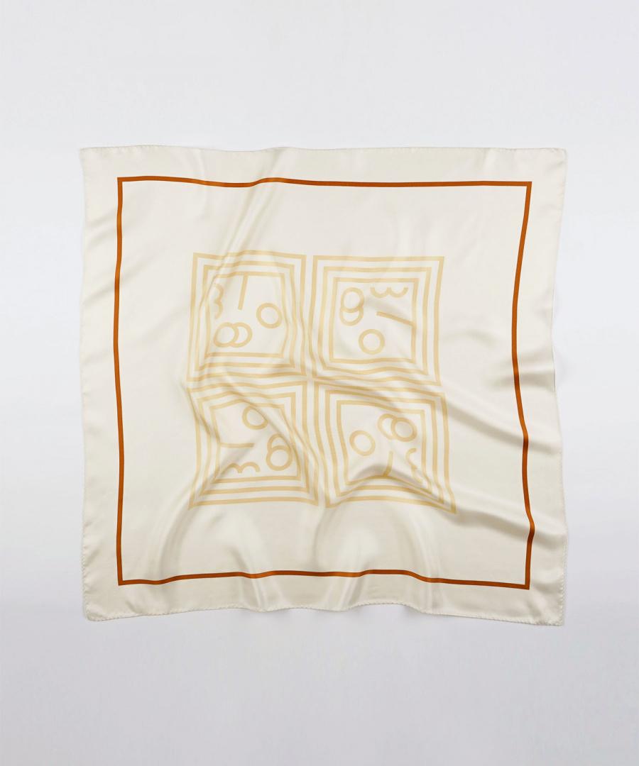 쓰리투에이티(THREE TO EIGHTY) HC Silk Scarf (Beige)