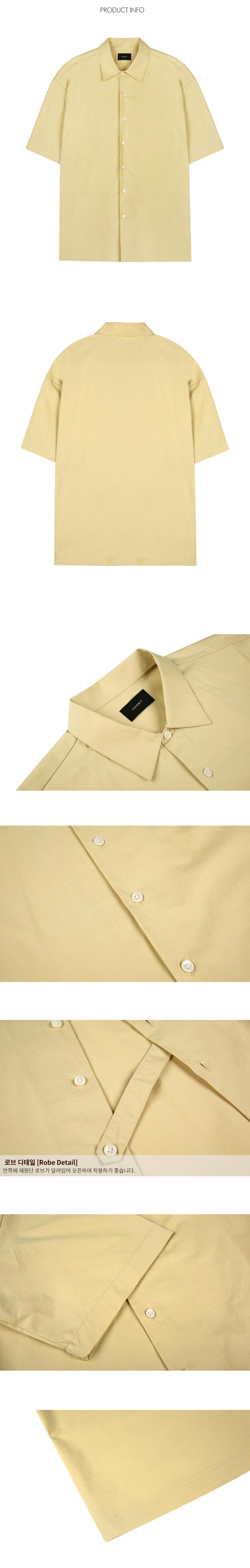 브아빗(VOIEBIT) V454 로브 반팔 셔츠-(베이지)