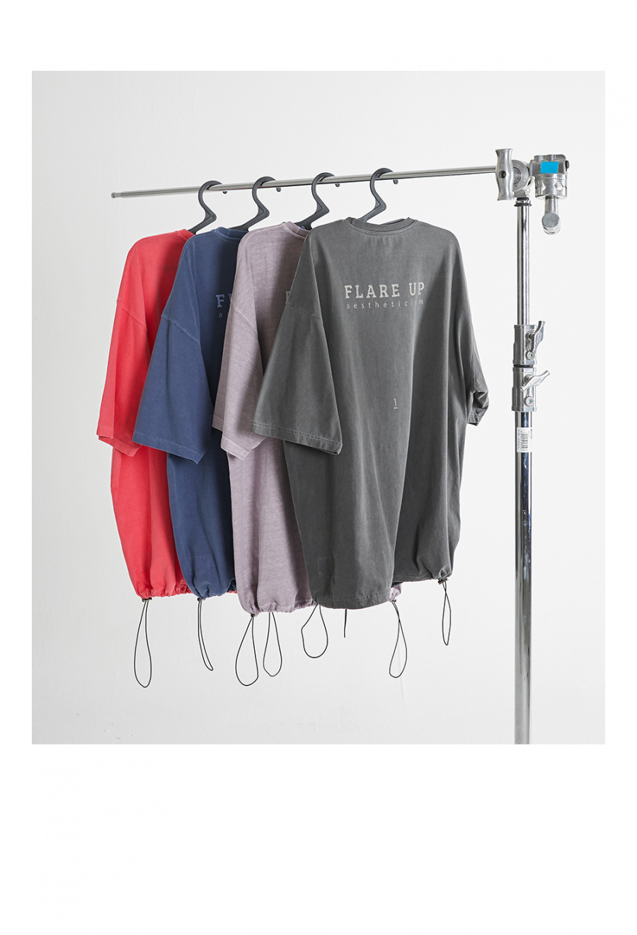플레어업(FLAREUP) 리버시블 피그먼트 스트링 오버핏 티셔츠 - 네이비 블루 (FU-141)