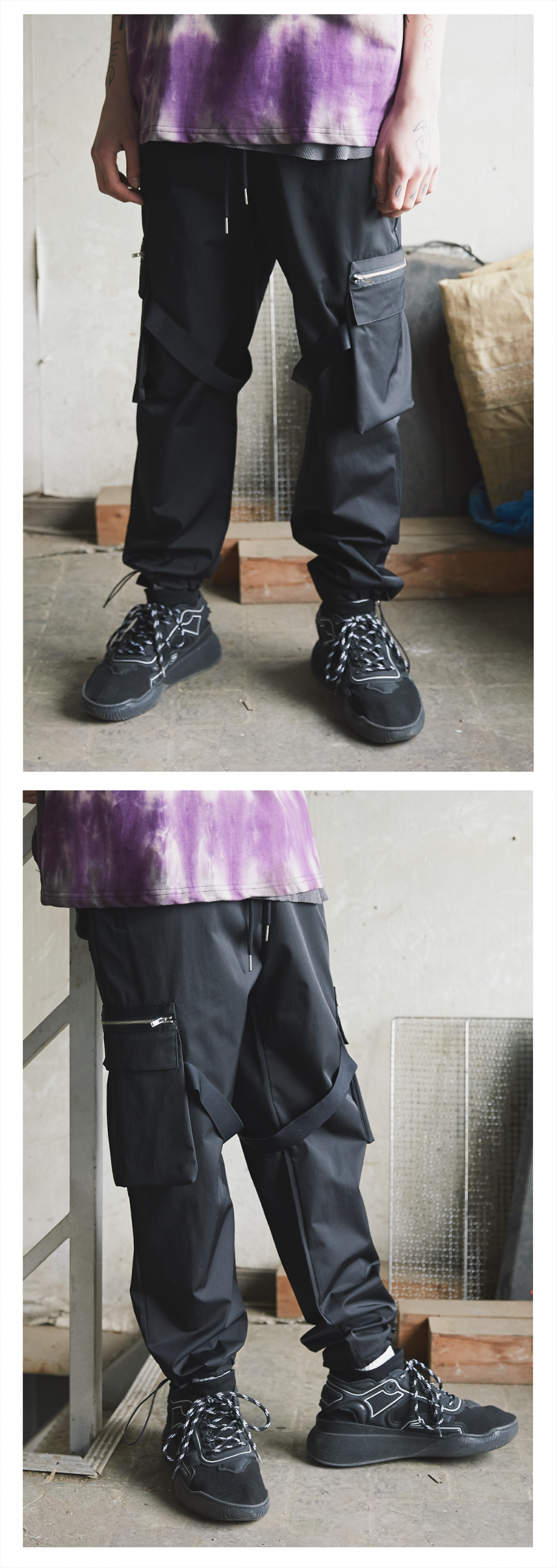캐스퍼존아이바(CASPERJOHNAIVER) 낙하산변형카고팬츠(블랙)