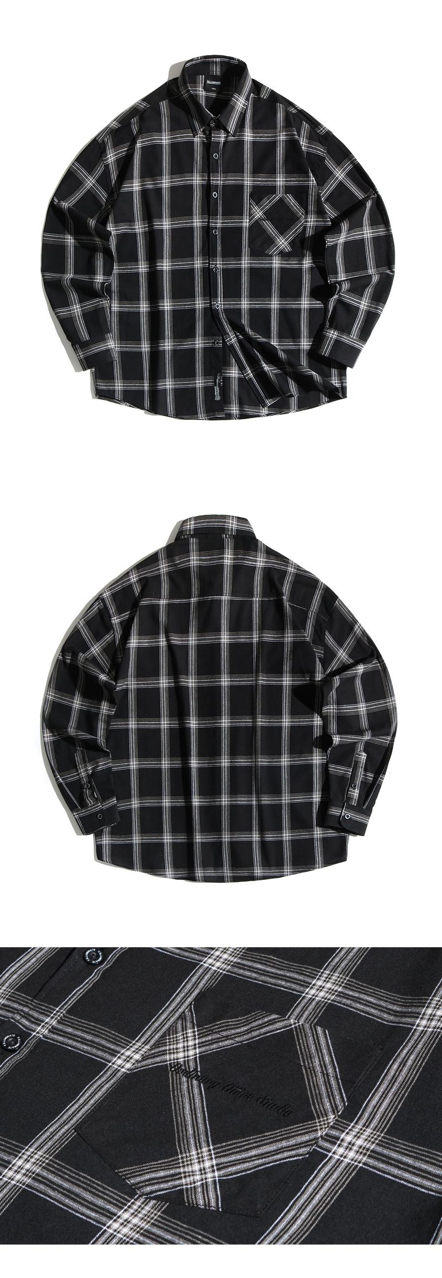 필루미네이트(FILLUMINATE) 유니섹스 오버핏 거즈 체크 셔츠-블랙