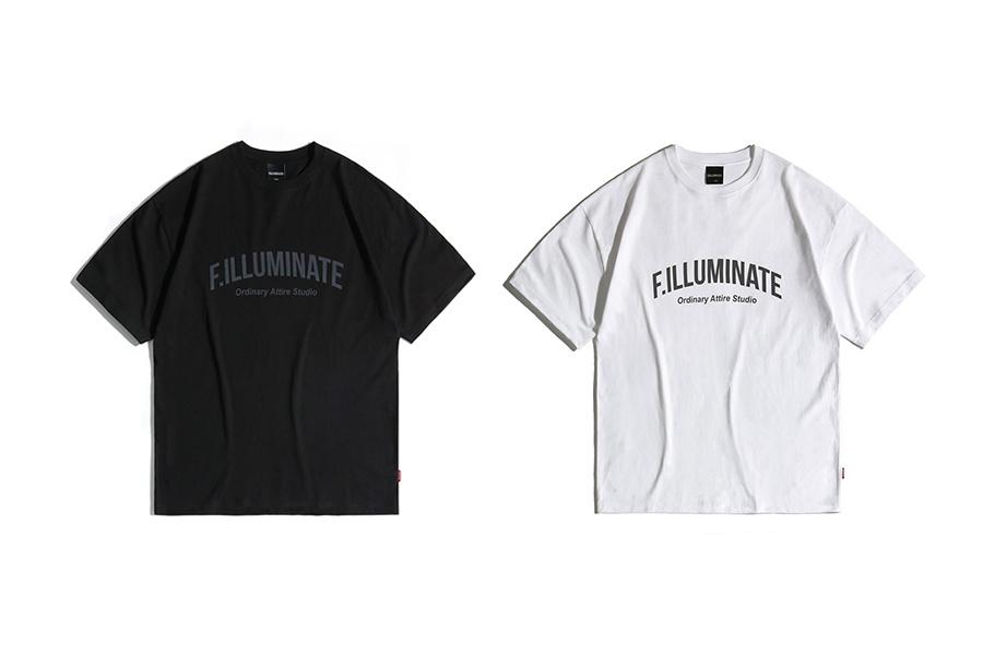 필루미네이트(FILLUMINATE) 유니섹스 오버핏 프리즘 로고 티-화이트