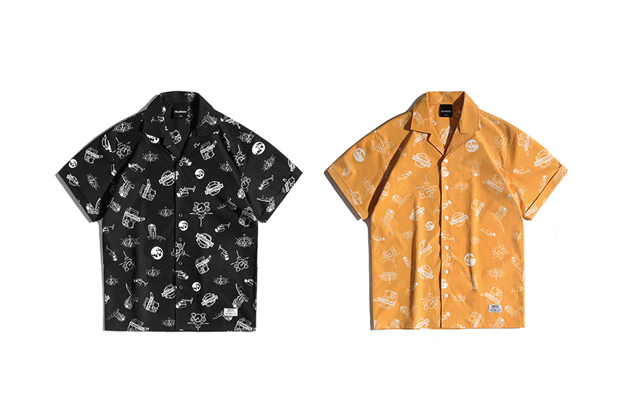 필루미네이트(FILLUMINATE) 유니섹스 스페이스 로고 오픈 카라 셔츠-블랙