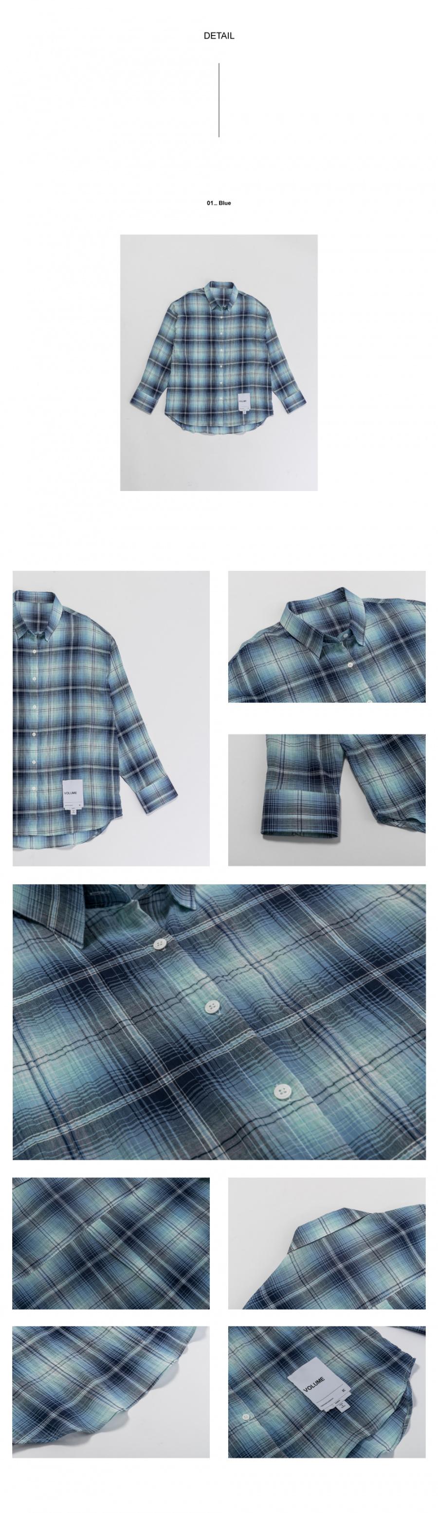 레이디 볼륨(LADY VOLUME) [남/여]overfit check shirt_blue