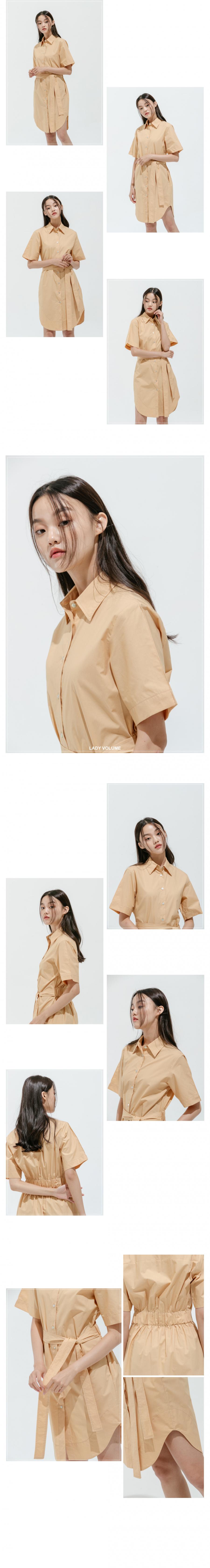 레이디 볼륨(LADY VOLUME) shirt belt one piece_orange