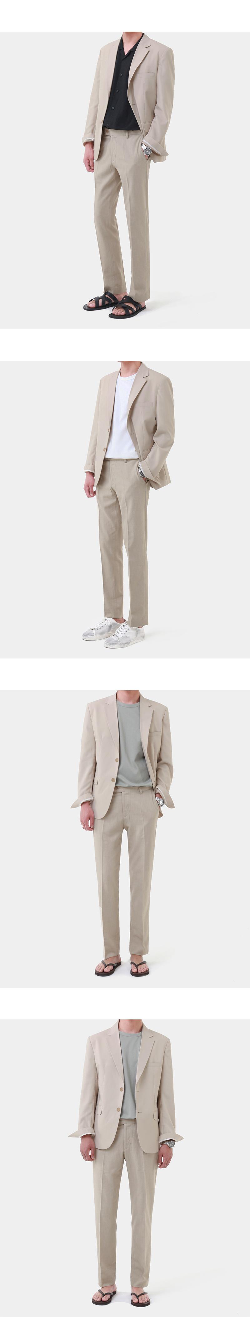 모디파이드(MODIFIED) [여름용 쿨원단 슬림블레이져 셋업] M#1757 summer minimal blazer set-up (beige)