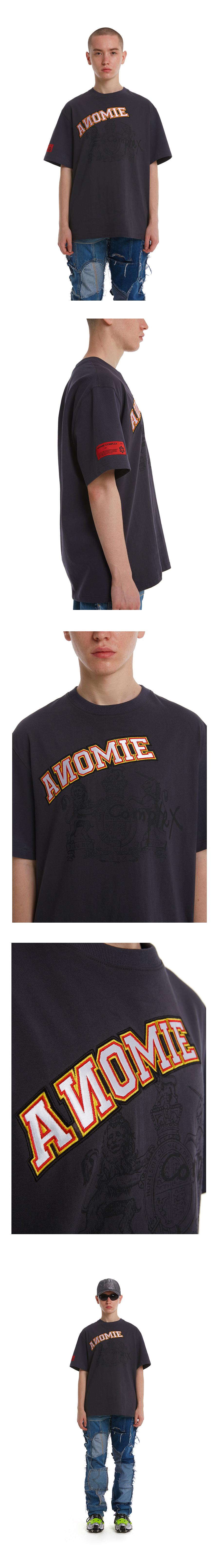 아노미컴플렉스(ANOMIE COMPLEX) 스핀 엠브로이더리 1/2 티셔츠(차콜)