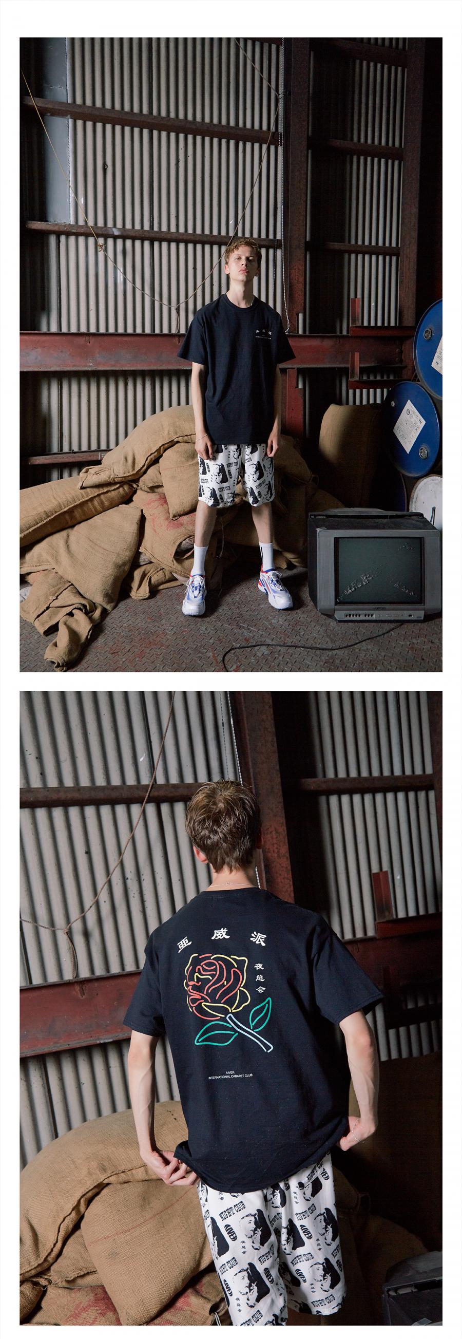 캐스퍼존아이바(CASPERJOHNAIVER) 오리엔탈 네온 로즈 오버 티셔츠(블랙)