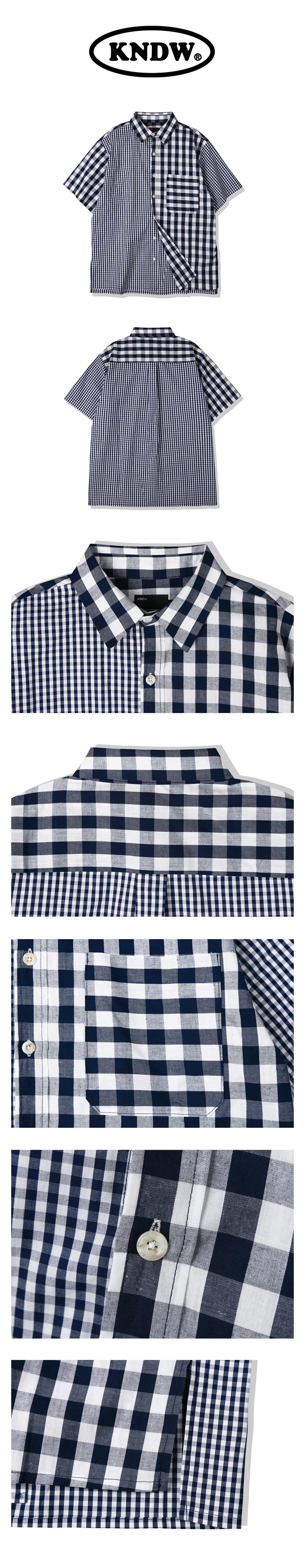 케이엔드(KND) 믹스 체크 코튼 1/2 셔츠