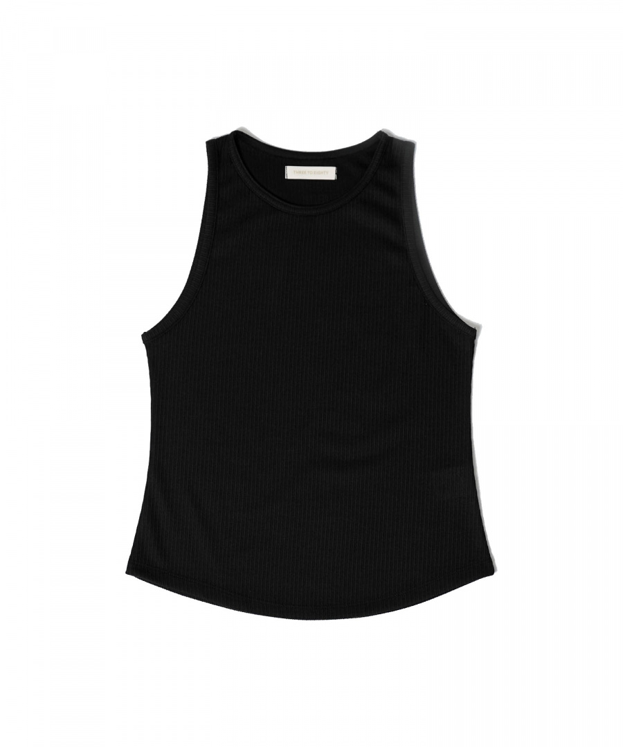 쓰리투에이티(THREE TO EIGHTY) Ribbed Sleeveless (Black)