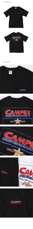 어네이티브(A.NATIVE) (30수) [남녀공용] 캠퍼 vip  골드 스타 맴버 로고 오버핏 반팔 티셔츠 (검정)