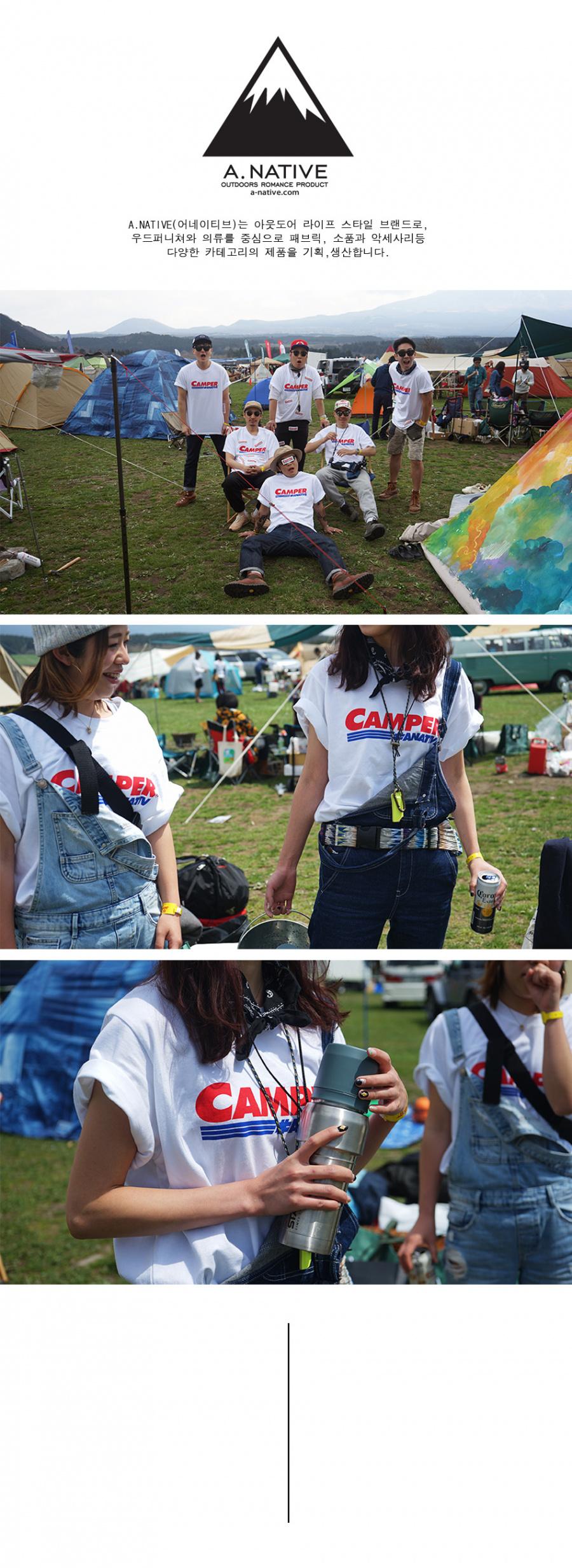 어네이티브(A.NATIVE) (30수) [남녀공용] 캠퍼 vip  골드 스타 맴버 로고 오버핏 반팔 티셔츠 (화이트)