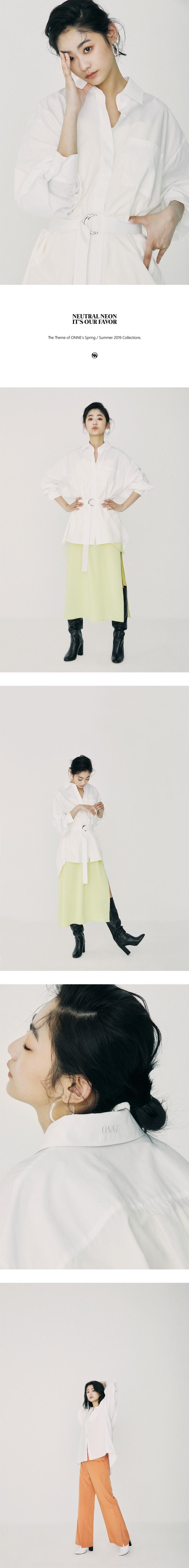 온느(ONNE) Belted Volume Shirt White