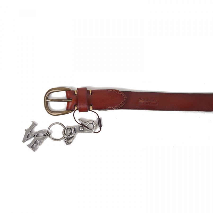 아티스(ATEASE) Love Wash Leather Belt Brown