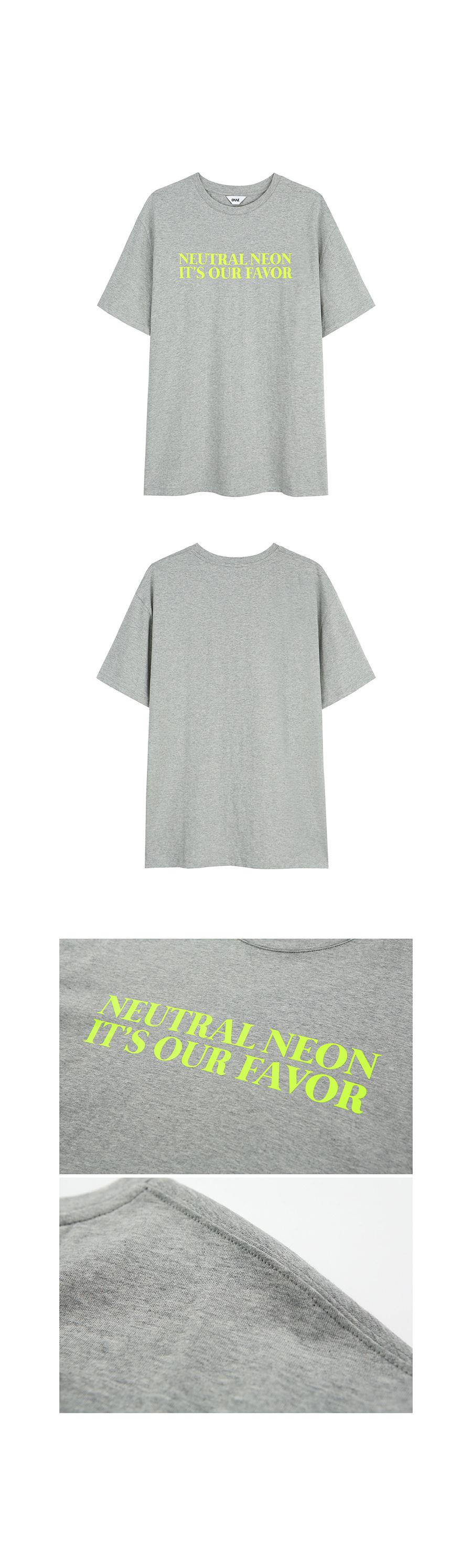 온느(ONNE) NEUTRAL NEON Over Fit T-Shirt Gray