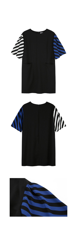 온느(ONNE) Stripe Pleats Sleeve Dress Black