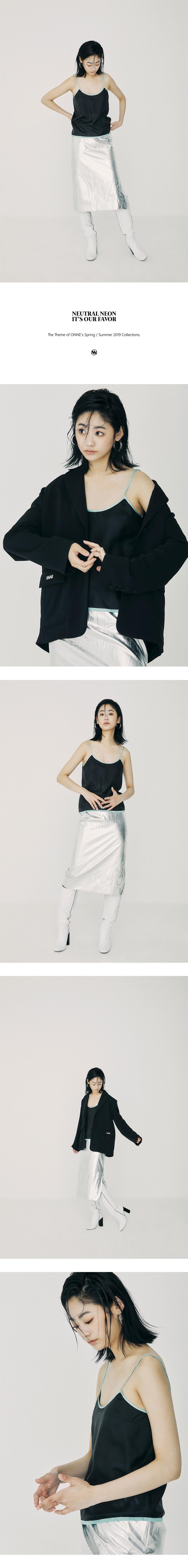 온느(ONNE) Silk Bustier Top Black