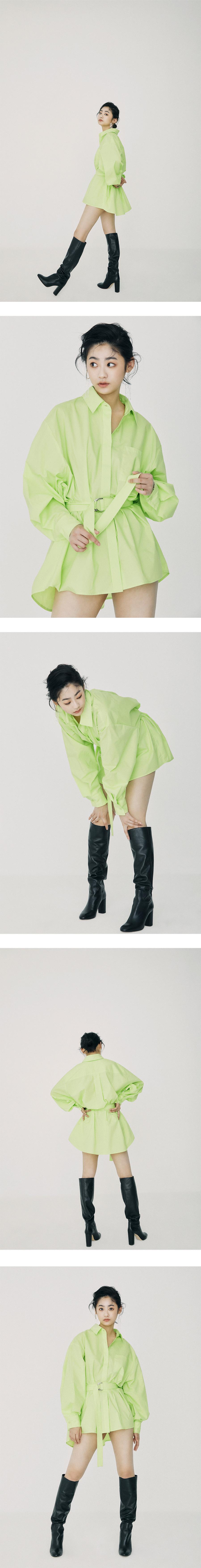 온느(ONNE) Belted Volume Shirt Lime