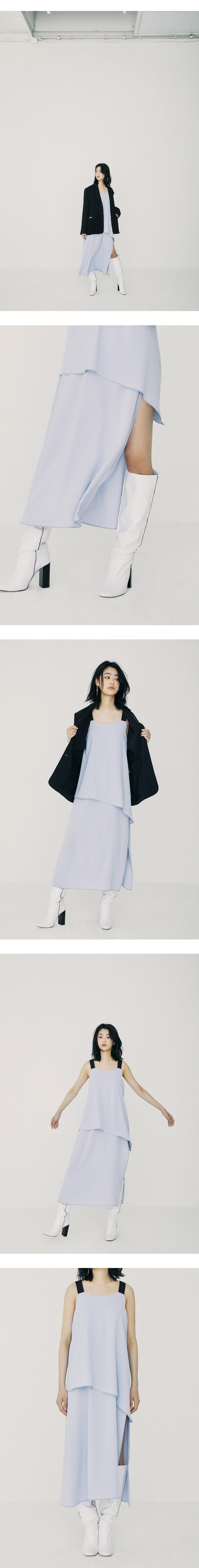 온느(ONNE) Unbal Twofold Maxi Dress Light Blue