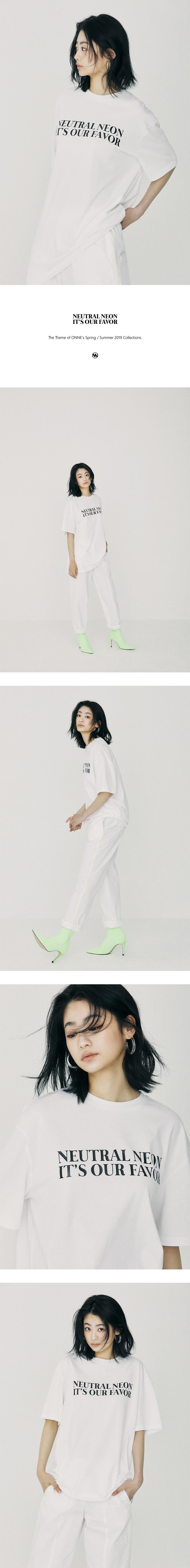 온느(ONNE) NEUTRAL NEON Over Fit T-Shirt White