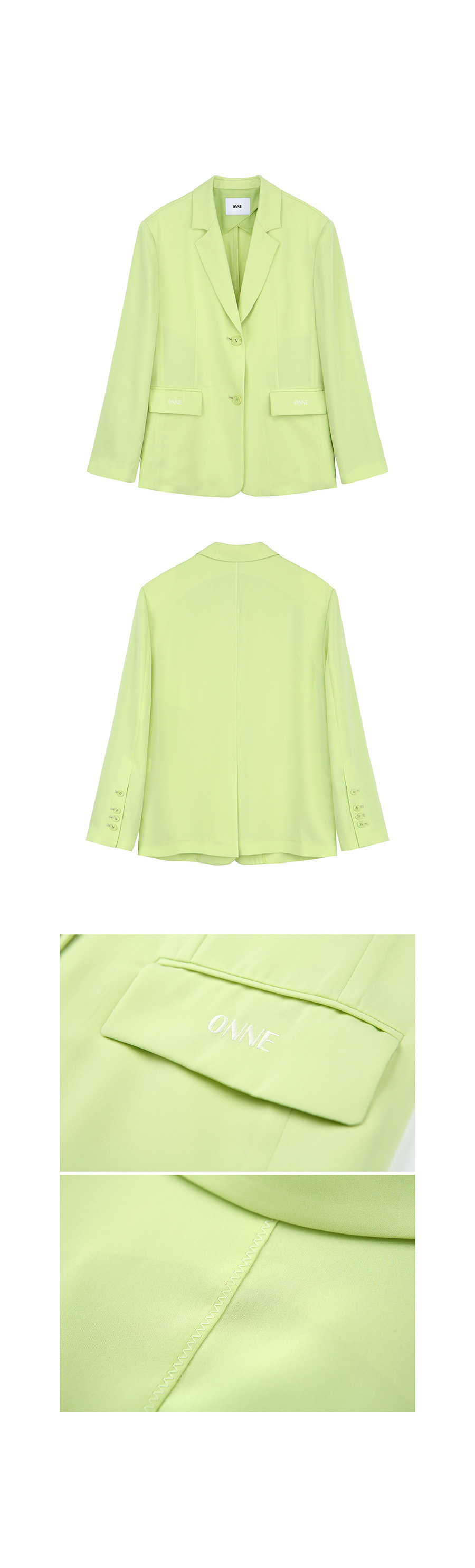 온느(ONNE) ONNE Zigzag Pointed Jacket Lime