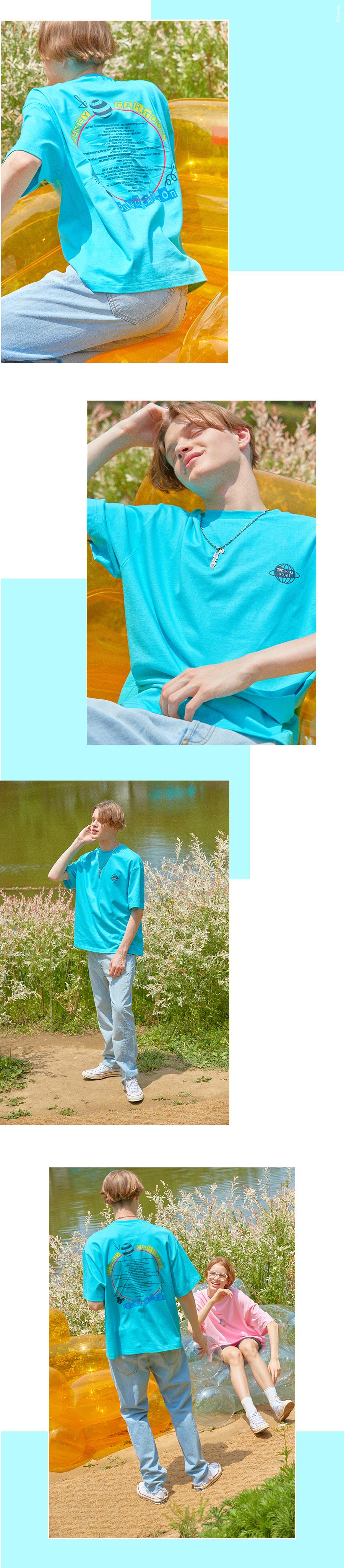 오디너리피플(ORDINARY PEOPLE) [DISNEYxORDINARYPEOPLE] mickey friends inside cartoon sky mint t-shirt
