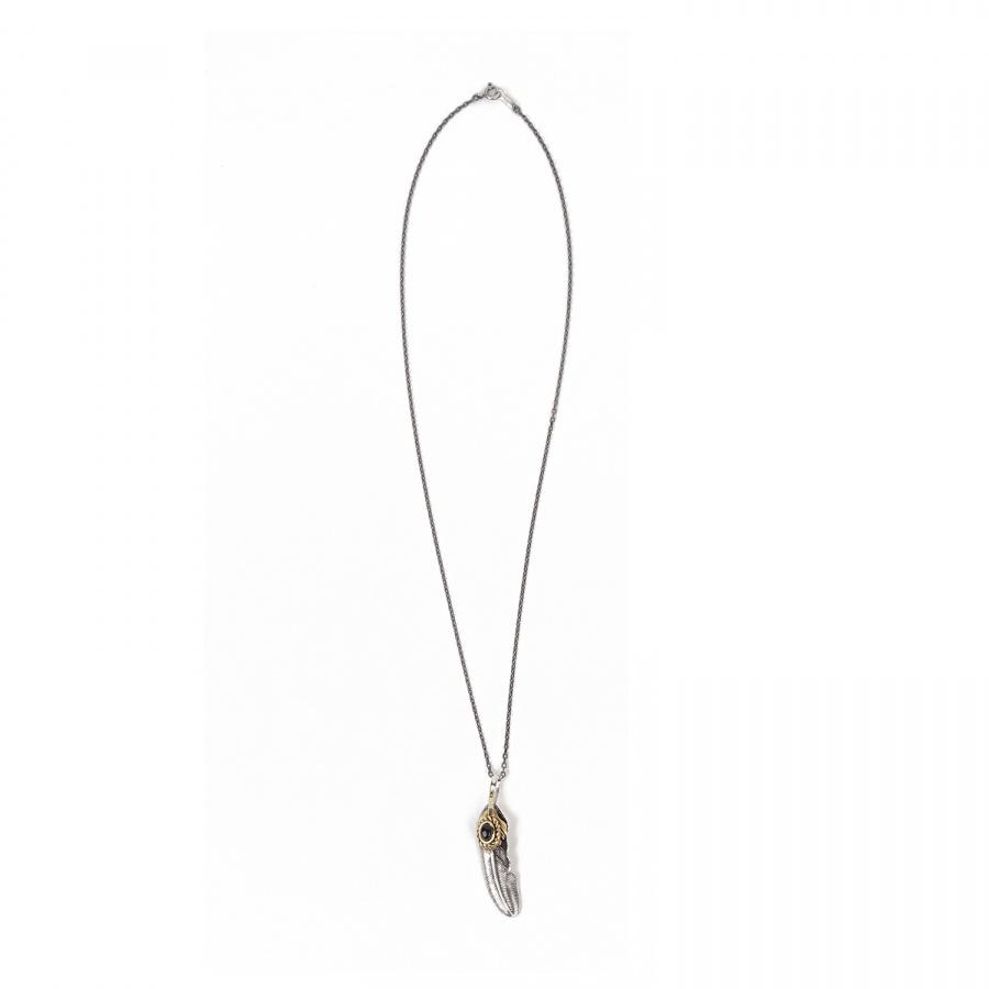 아티스(ATEASE) ATEASE Feather Stone Necklace ONYX
