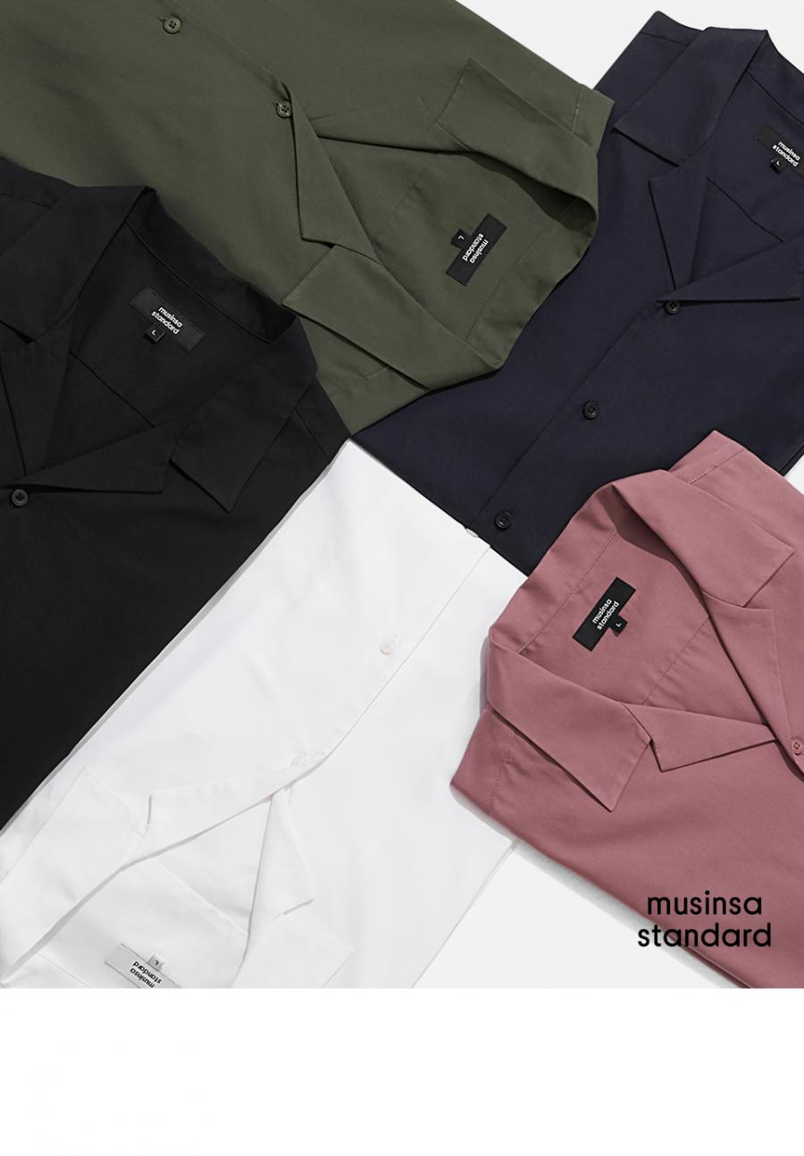 무신사 스탠다드(MUSINSA STANDARD) 오픈 칼라 쇼트 슬리브 셔츠 [화이트]