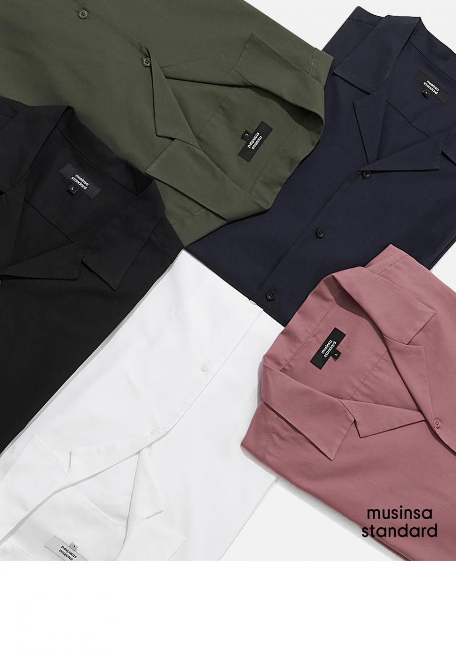 무신사 스탠다드(MUSINSA STANDARD) 오픈 칼라 쇼트 슬리브 셔츠 [블랙]