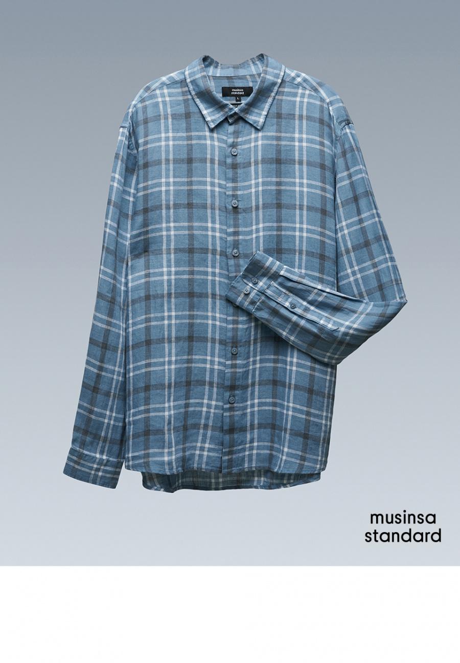 무신사 스탠다드(MUSINSA STANDARD) 터키쉬 블루 체크 린넨 셔츠 [터키쉬 블루]