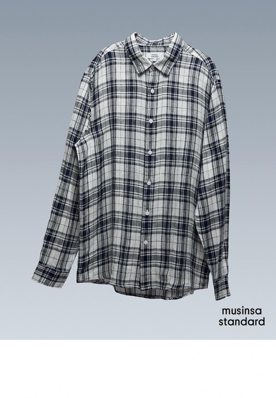 무신사 스탠다드(MUSINSA STANDARD) 다크 네이비 체크 린넨 셔츠 [다크 네이비]
