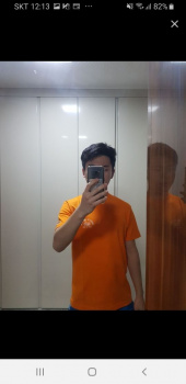 프룻오브더룸(FRUIT OF THE LOOM) SMALL BLANK LOGO T-SHIRTS ORANGE 후기