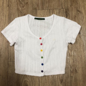 하이스쿨디스코(HIGH SCHOOL DISCO) Rainbow Crop Cardigan_white 후기