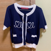 오아이오아이(OiOi) HEART LOGO KNIT CARDIGAN_navy 후기