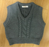 큐리티(CURETTY) C CABLE CROP KNIT VEST_GREY 후기
