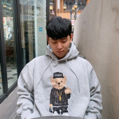 스티그마(STIGMA) EMB COMPTON BEAR OVERSIZED HEAVY SWEAT HOODIE GREY 후기