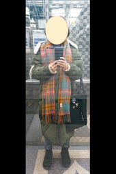 어나더에이(ANOTHER A) Check Shawl Muffler [Ivory/Orange/Navy] 후기