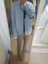 던스트(DUNST) DOUBLE LAYER STRIPED SHIRT (BLUE) UDSH9E301B2 후기