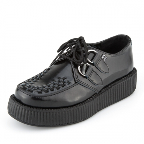 티유케이(T.U.K) [T.U.K] V6806 Black Leather Low Sole Viva Creeper