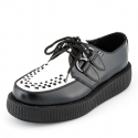 티유케이(T.U.K) [T.U.K] V6807Black and White Leather Viva Low Sole Creepers