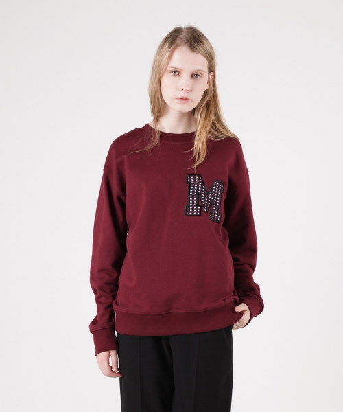 모한(MOHAN) [MOHAN] MOHAN APPLIQUE SWEATSHIRT BURGUNDY